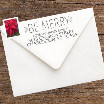 Christmas Return Address Stamp for Envelopes, Christmas Cards, Stationery- Custom Stamp for Addressing Christmas Cards - Custom Rubber Stamp