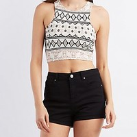 PRINTED RACER FRONT CROPPED TANK