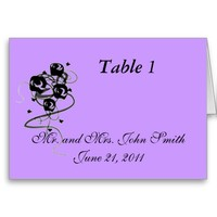 Lavender and Black Table Card