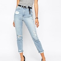 ASOS FARLEIGH High Waist Slim Mom Jeans In Forever Blue Wash With Rips