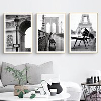 COLORMOON France Vintage Landscape Wall Art Print Canvas Painting Nordic Black White Poster Wall Pictures For Living Room Decor