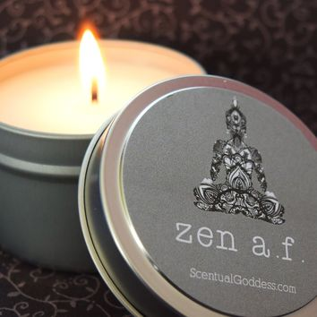 ZEN A. F. Candle - Nag Champa Scented Soy Candle - Buddha Meditation Candle - Zen As F*uck
