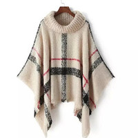 Plaid Tassel Turtleneck Oversized Cape Sweater