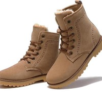 High Quality Women Snow Boots Winter Boots Lace Up Ankle Casual Brand Warm Shoes Women's and Men Leather Plush Fur Boots