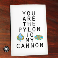 Pylon and Cannon - You Are the Pylon to My Cannon - Cute Valentine's Day Card - Retro Gamer Couple Love Card - Anniversary Card 4.5 X 6.25
