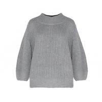 Gray Knitted Loose Sweatshirt