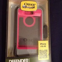 iphone 4/4s otter box defender series- pink gray and black- new in box!!