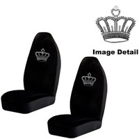 Crown Gem Crystal Studded Rhinestone Bling Car Truck SUV Front Universal-Fit Bucket Seat Covers
