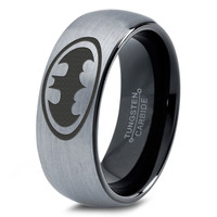 Batman Tungsten Wedding Band Ring Mens Womens Brushed Domed Black Fanatic Comic Geek Anniversary Engagement