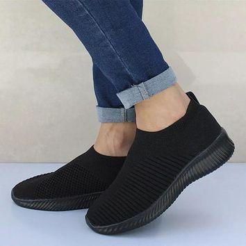 Woman Striped Sock Sneakers Slip On Knitted