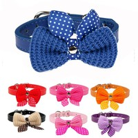 Lovely Bowknot Adjustable Leather Puppy Pet Dog Collar Necklace Cat Collars mascotas cachorro Collars collier pour chien XS S M