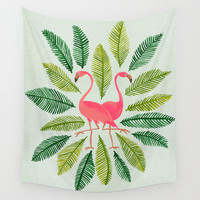 Flamingos Wall Tapestry by Cat Coquillette