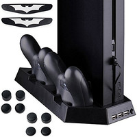 Zacro PS4 Vertical Stand Cooling Fan Dual Charging Station for Playstation 4 DualShock 4 Controllers, with Dual USB HUB Charger Ports