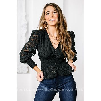 It's Pure Class Lace Smocked Top