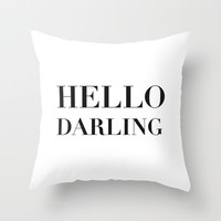 Velveteen Pillow - Hello Darling - Black and White Throw Pillow - Accent Pillow - Decorative Pillow - Girls Room Decor - Teen Decor