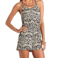 Strappy-Back Tribal Print Romper by Charlotte Russe - Black Combo