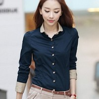 Free ship Elegant Slim Shirt & Blouse