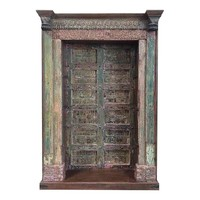 Pre-owned Antique Architectural Pink and Green Door Bookcase