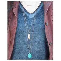 """""""Delicate Me"""" Dainty Triple Layer Turquoise Feather Necklace"""