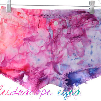 Low Rise COLORFUL Marbled DYED Denim High Waist Cut off Shorts XS
