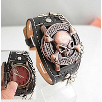 New Steampunk Skull Cover Quartz Wrist Watch Unisex Fashion Skeleton Leather Watches Women Men Bracelet Wristbands Gothic Punk Biker [9221477188]