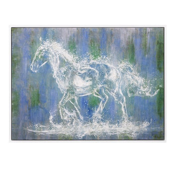 Green & Blue Abstract Ghost Horse Painting