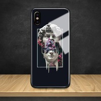 Abstract Aesthetics statue Tempered Glass Soft Silicone Phone Case Shell Cover For Apple iPhone 6 6s 7 8 Plus X XR XS MAX