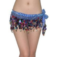 Buy Ladies Sexy Exotic Belly Dance Hip Scarf / Costume Belt With Coins & Beads - Dark Blue at Best Buy Shop