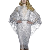 Hollow Out dress women Sexy Lace Sequin Solid party Dress Summer Semi-sheer Plunge V-Neck Long Sleeve formal Dress vestidos