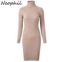 Neophil Womens Winter Knitted Sheath Turtle Neck Dresses Long Sleeve Bodycon Solid Basic Sexy Mini Dresses Vestidos D1801
