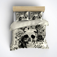 Featherweight Skull Bedding -  Black & White Skull Print on Cream Fabric - Comforter Cover - Sugar Skull Duvet Cover, Sugar Skull Bedding