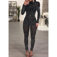 Black Patchwork Grenadine Rhinestone Sparkly Catsuit One Piece Clubwear Party Long Jumpsuit