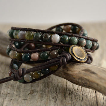 Beaded triple wrap leather bracelet. Natural stone bead jewelry