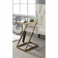 ACME Laina Side Table in Frosted Glass & Rose Gold