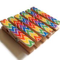 Rainbow Chevron Mini Clothespin Magnets Set of 6 Magnet Clips