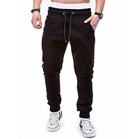 Fashion Casual Men Flap Pocket Drawstring Cargo Pants