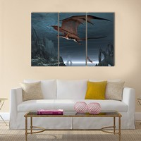 Red Dragons Flying Multi Panel Canvas Wall Art