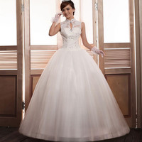 Charming Stand Collar Rhinestoned Embroidery and Buttons Design Floor Length Wedding Dress