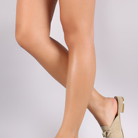 Chained Suede Almond Toe Mule Loafer Flat