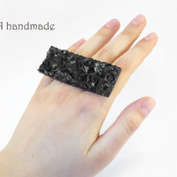Black stone ring made of polymer clay