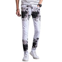 2017 new arrivals fashion printed cotton white men jeans pants slim fit casual denim trousers 28-36 AYG290
