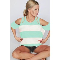 Striped Strappy Cold Shoulder Top - Mint