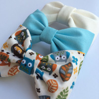 Petite owl, tiffany blue, and and winter white bow lot from Seaside Sparrow.  This Seaside Sparrow set makes a perfect gift for her.