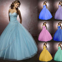Stock A Line Wedding Evening Bridal Gowns Prom Ball Dress Size 6 8 10 12 14 16