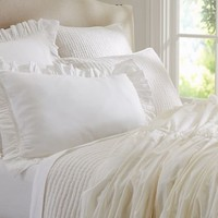 Hadley Ruched Duvet Cover & Sham - Ivory