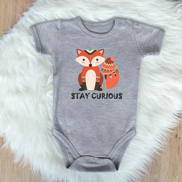 Tribal Fox Baby Clothes. Boho Fox Baby Bodysuit. Cute Baby Clothes. Baby Girl or Baby Boy Romper. Baby Shower. Stay Curious Baby Bodysuit
