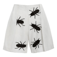 Silk Linen Embroidered Vent Shorts by Azede Jean-Pierre for Preorder on Moda Operandi