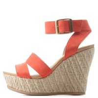 Tangerine Ankle Strap Espadrille Wedge Sandals by Charlotte Russe