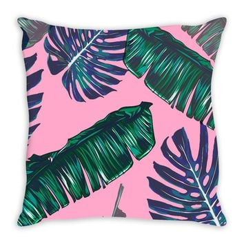 Pink and Palms Throw Pillow