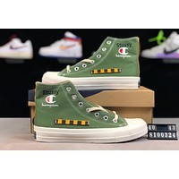 Champion joint name Stussy street fashion men and women high canvas sports shoes Green